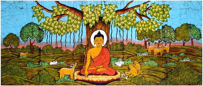 رسم بوذي تقليدي يظهر سيدارتا غوتاما متأملاً في ظلّ شجرة البودي