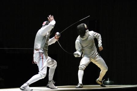 من إحدى مباريات المبارزة الأولمبية
