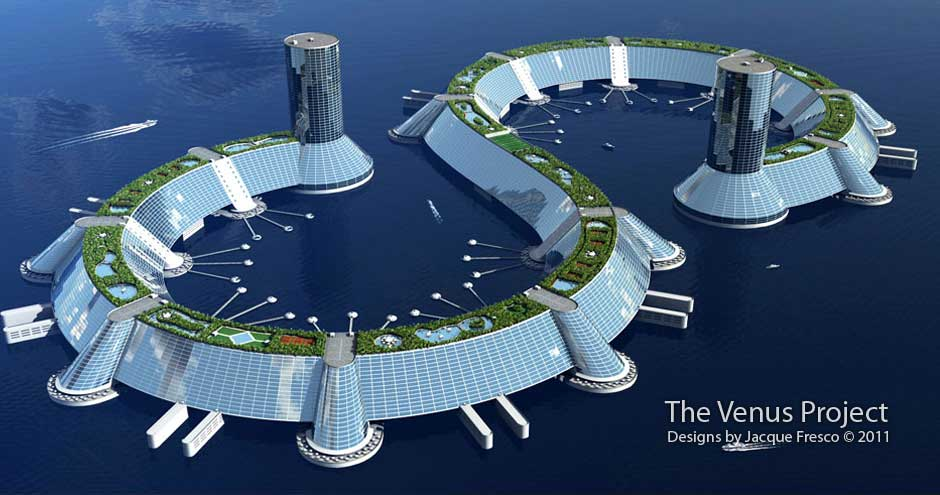 """نموذج لمدينة عائمة من جاك فريسكو، تصفها حركة زايتجايست بـ""""إيكولوجيّة""""."""
