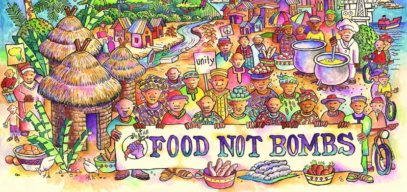 """من الملصقات التي حضرتها مجموعات """"الغذاء لا القنابل""""  وهي مجموعات مؤلفة من الناشطين الراديكاليين تقوم بتقديم الغذاء المجاني في الولايات المتحدة وأوروبا."""