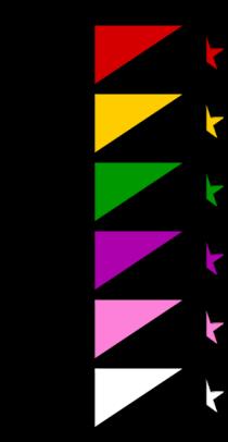 رسم يوضح الأعلام المعتمدة لبعض التيارات الأنركية الرئيسية