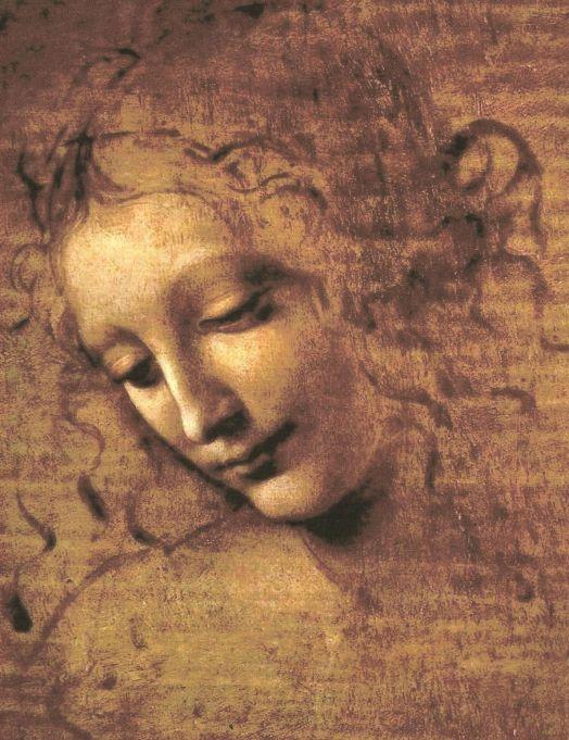 إحدى رسومات دافينشي أيضاً لرأس إمرأة. لوحة لاسكابيغلياتا.