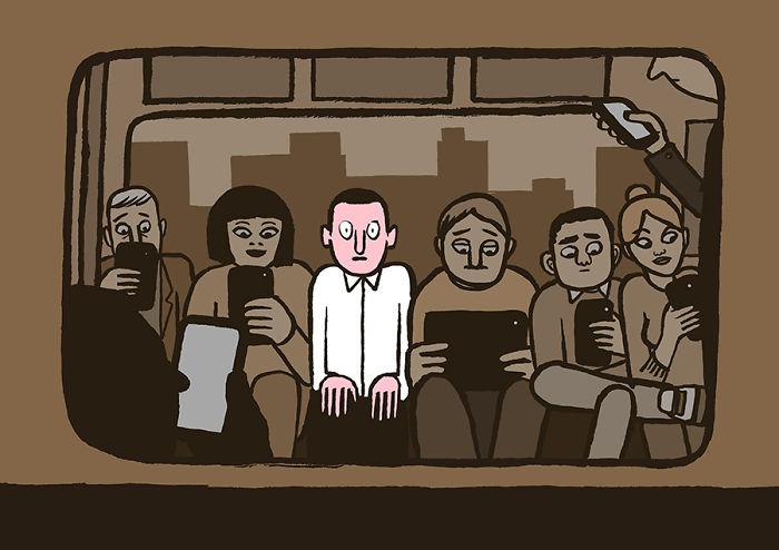 هكذا أشعر في العالم اليوم. (الصورة من عمل جان جوليان على هذا الرابط http://www.boredpanda.com/smart-phone-addiction-technology-modern-world-jean-jullien/)