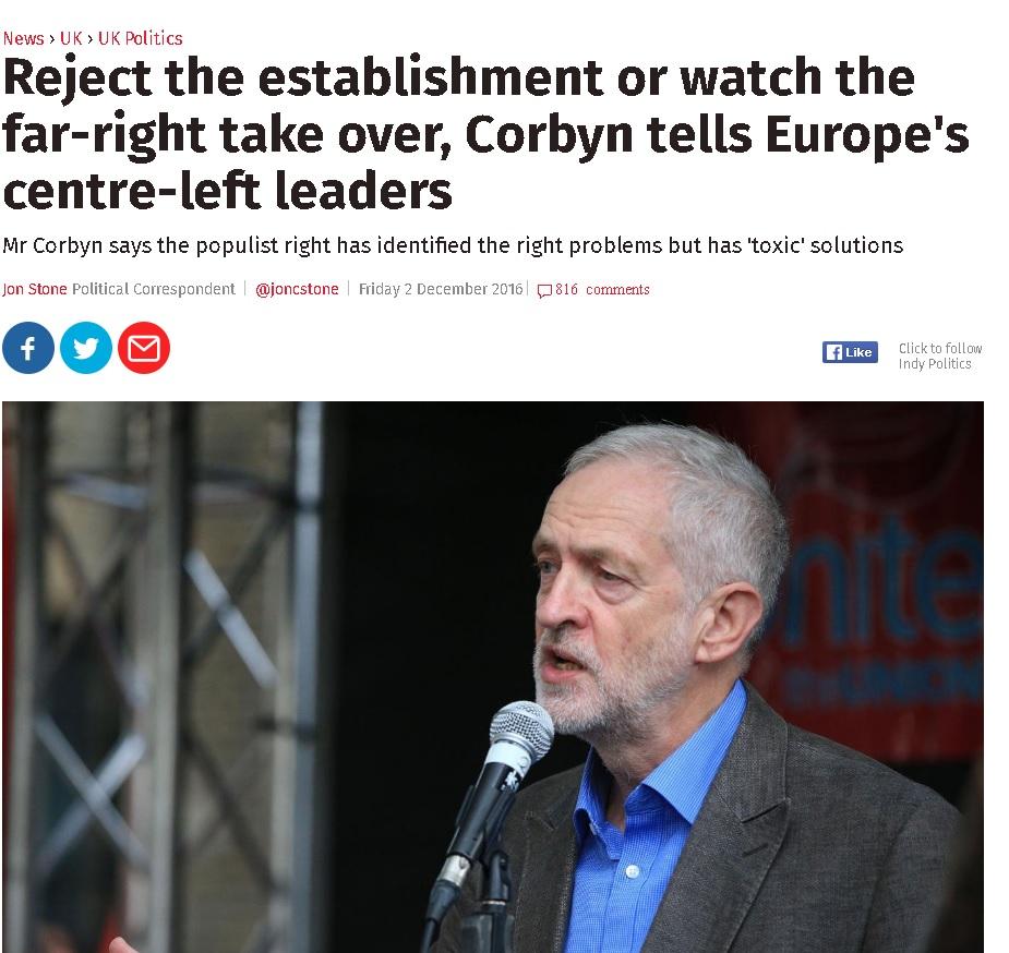 """رئيس حزب العمّال البريطاني يحذر اليسار """"علينا رفض الاستابليشمنت (الطبقة والمؤسسات السياسية المهيمنة) وإلا سنشاهد اليمين يستلم زمام الأمور"""""""